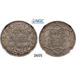 Lot: 2655. Morocco, Abd al-Hafiz, AH1326-1330 (1908-1912), ½ Rial (5 Dirhams) AH1329Pa (1911) Paris, Silver, NGC MS62