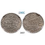 Lot: 2657. Morocco, Yusuf, AH1330-1346 (1912-1927), 1/10 Rial (Dirham) AH1331-Pa (1913) Paris, Silver, NGC AU58
