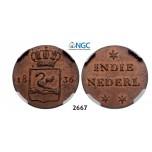 "Lot: 2667. Netherlands, Netherlands East Indies, Kingdom of Netherlands, Dutch administration 1817-1949, William I, 1815-1840, Pattern ""Swan Duit"" 1836, Copper, NGC MS64RB"