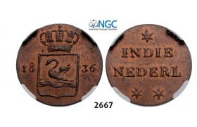 "Lot: 2667. Netherlands, Netherlands East Indies, Kingdom of Netherlands, Dutch administration 1817­-1949, William I, 1815­-1840, Pattern ""Swan Duit"" 1836, Copper, NGC MS64RB"