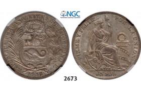 Lot: 2673. Peru, Sol 1915-FG, Lima, Silver, NGC MS63