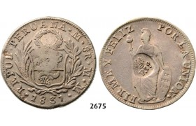 Lot: 2675. Philippines, Spanish Colony, 1762­-1898, Ferdinand VII, 1808­-1833, 8 Reales 1831-­MM, Lima, Silver