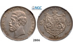 Lot: 2806. Romania, Carol I, 1866­-1914, 5 Lei 1880­-B, Bucharest, Silver , NGC AU53