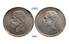 Lot: 2815. Romania, Carol I, 1866-1914, 5 Lei, No Date (1906) Brussels, Silver, NGC AU58