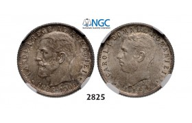Lot: 2825. Romania, Carol I, 1866­-1914, Leu No Date (1906) Brussels, Silver, NGC MS64