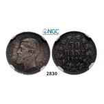 Lot: 2830. Romania, Carol I, 1866-1914, 50 Bani 1900, Hamburg, Silver, NGC MS63