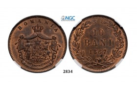 Lot: 2834. Romania, Carol I, 1866­-1914, 10 Bani 1867­ Heaton, Birmingham, Copper, NGC MS64RB
