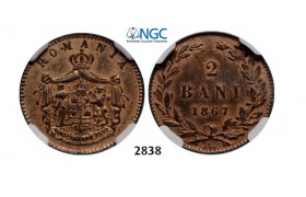 Lot: 2838. Romania, Carol I, 1866­-1914, 2 Bani 1867­ Watt&Co, Birmingham, Copper, NGC MS63RB