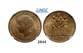 Lot: 2844. Romania, Mihai I, 1927­-1930/1940-­1947, 20 Lei 1930, London, Nickel­-Brass, NGC MS63