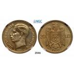 Lot: 2846. Romania, Carol II, 1930-1940, 20 Lei 1930-H, Heaton, Birmingham, Nickel-Brass, NGC PF65