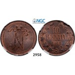 Lot: 2958. Russia, For Finland, 10 Penniä 1900, Helsingfors, Copper, NGC MS63RB