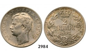 Lot: 2984. Serbia, Alexander I, 1889-1902, 2 Dinara 1897, Vienna, Silver