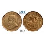 Lot: 2995. South Africa, Zuid-Afrikaansche Republiek (ZAR), Pond 1898, GOLD, NGC AU58