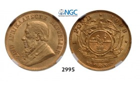 Lot: 2995. South Africa, Zuid­-Afrikaansche Republiek (ZAR), Pond 1898, GOLD, NGC AU58