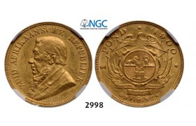 Lot: 2998. South Africa, Zuid­-Afrikaansche Republiek (ZAR), Pond 1900, GOLD, NGC AU58