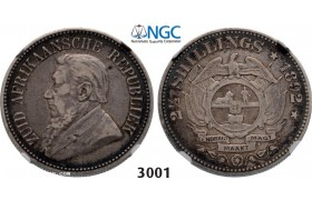 Lot: 3001. South Africa, Zuid­-Afrikaansche Republiek (ZAR), 2 ­1/2 Shillings 1892, Silver, NGC VF30