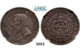 Lot: 3002. South Africa, Zuid­-Afrikaansche Republiek (ZAR), 2­ 1/2 Shillings 1894, Silver , NGC VF35