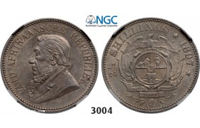Lot: 3004. South Africa, Zuid­-Afrikaansche Republiek (ZAR), 2­ 1/2 Shillings 1897, Silver, NGC AU58