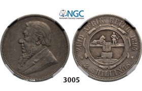 Lot: 3005. South Africa, Zuid­-Afrikaansche Republiek (ZAR), 2 Shillings 1894, Silver , NGC VF30