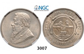 Lot: 3007. South Africa, Zuid­-Afrikaansche Republiek (ZAR), 2 Shillings 1897, Silver, NGC AU58