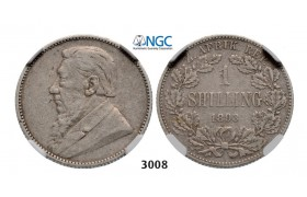 Lot: 3008. South Africa, Zuid­-Afrikaansche Republiek (ZAR), Shilling 1893, Silver, NGC VF30