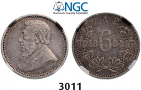 Lot: 3011. South Africa, Zuid­-Afrikaansche Republiek (ZAR), 6 Pence 1894, Silver, NGC VF30