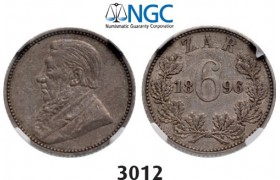 Lot: 3012. South Africa, Zuid­-Afrikaansche Republiek (ZAR), 6 Pence 1896, Silver, NGC XF45