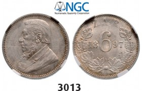 Lot: 3013. South Africa, Zuid­-Afrikaansche Republiek (ZAR), 6 Pence 1897, Silver, NGC MS62