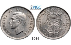 Lot: 3016. South Africa, Union of South Africa, George VI, 1936-­1952, 2­ 1/2 Shillings 1942, Pretoria, Silver, NGC MS62