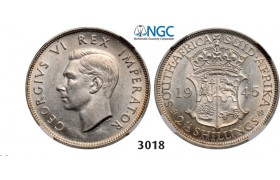 Lot: 3018. South Africa, Union of South Africa, George VI, 1936-­1952, 2­ 1/2 Shillings 1945, Pretoria, Silver, NGC AU58