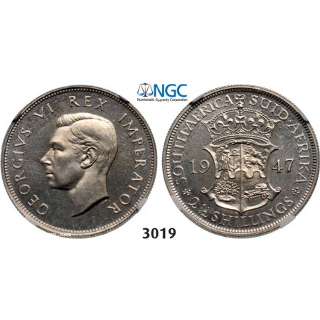 Lot: 3019. South Africa, Union of South Africa, George VI, 1936-1952, 2 1/2 Shillings 1947, Pretoria, Silver, NGC PF63
