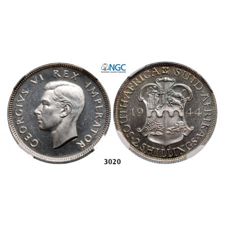 Lot: 3020. South Africa, Union of South Africa, George VI, 1936-­1952, 2 Shillings 1944, Pretoria, Silver, NGC PF63