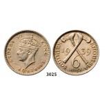 Lot: 3025. Southern Rhodesia (Zimbabwe), George VI, 1936-1952, 6 Pence 1939, Silver