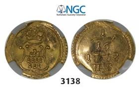 Lot: 3138. Transylvania, Maria Theresia, 1740-1780, 1/16 Ducat 1778-H/S, Karlsburg, GOLD, NGC MS62