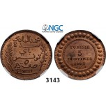 Lot: 3143. Tunisia, French Protectorate, 1881-1955, 5 Centimes AH1321 (1903) –A, Paris, Bronze, NGC MS64RB