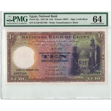 AB649, Egypt, National Bank, 10 Pounds 1947-50, Pick# 23c, Leith-Ross, PMG 64