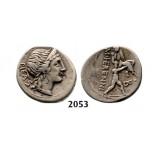 05.05.2013, Auction 2/2053. Roman Republic, M. Herennius (108-107 BC) Denarius, Rome, Silver (3.94g)