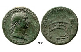 05.05.2013, Auction 2/2093. Roman Empire, Trajan, 103-­111 AD, Across Danube river Æ Sestertius (Struck 107-­110 AD) Rome, Bronze (20.86g)