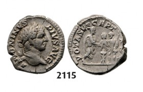 05.05.2013, Auction 2/ 2115. Roman Empire, Caracalla, 198-217 AD, Denarius (Struck 207 AD) Rome, Silver (3.64g)