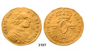 05.05.2013, Auction 2/ 2187. Sweden, Karl XII, 1697­-1718, Dukat 1718-­L/C, Stockholm, GOLD