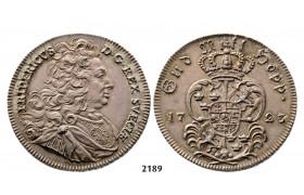 05.05.2013, Auction 2/2189. Sweden, Fredrik I, 1720-1751, ½ Riksdaler (Krell) 1723, Stockholm, Silver
