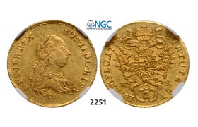 05.05.2013, Auction 2/ 2251. Austria, Joseph II. as co­regent, 1765-­1780, 2 Ducats 1778­-E/HS, Karlsburg, GOLD, NGC AU58