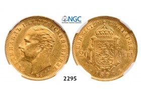 05.05.2013, Auction 2/ 2295. Bulgaria, Ferdinand I, 1887-1918, 20 Leva 1894-KБ, Kremnica, GOLD, NGC AU58