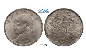"05.05.2013, Auction 2/ 2335. China, Republic, Yuan (Dollar) ""Fat man"" Year 3 (1914) Silver, NGC MS62"