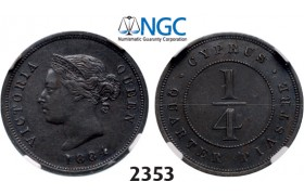 05.05.2013, Auction 2/ 2353. Cyprus, Victoria, 1837-­1901, ¼ Piastre 1884, London, Copper, XF45BN