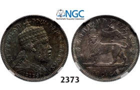 05.05.2013, Auction 2/ 2373. Ethiopia, Menellik II, 1889-­1913, ¼ Birr EE1889-­A, Paris, Silver , NGC MS62