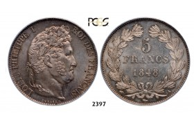 05.05.2013, Auction 2/2397. France, Louis Philippe, 1830-­1848, 5 Francs 1848­-A, Paris, Silver, PCGS MS64