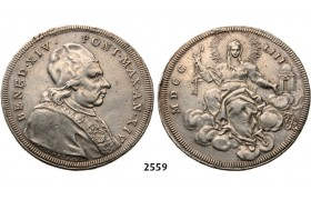 05.05.2013, Auction 2/ 2559. Italy, Papal States, Benedict XIV, 1740­-1758, Scudo, Year 14 (1753) Silver