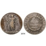 05.05.2013, Auction 2/2574. Italy, Piedmont Republic, 5 Francs L'An 9 (1801) Turin, Silver
