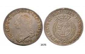 05.05.2013, Auction 2/ 2575. Italy, Sardinia, Vittorio Amadeo III, 1773-1796, ½ Scudo 1792, Turin, Silver